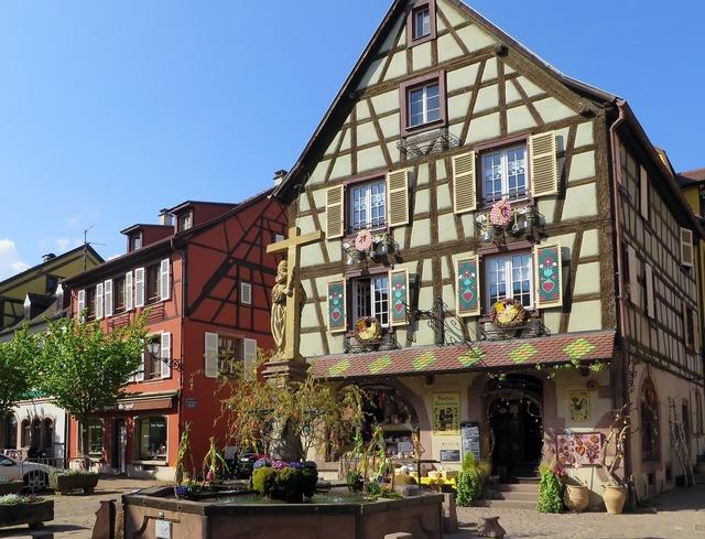 Alsace village house, architecture buildings.