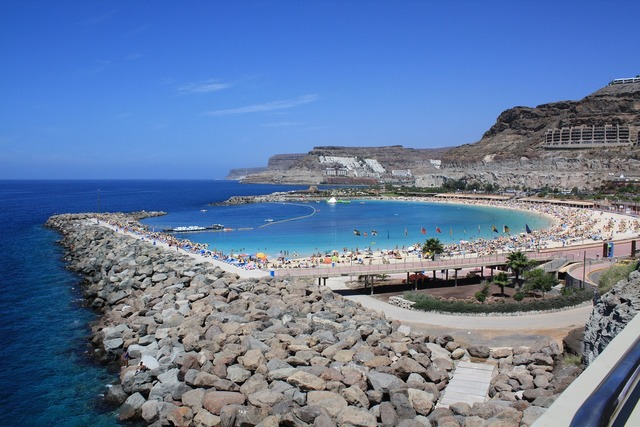 Amadores canary islands beach, travel vacation.
