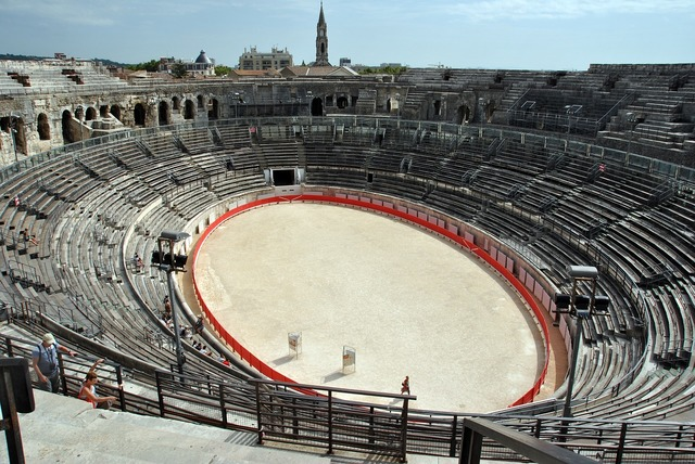 Amphitheatre nimes france, architecture buildings.
