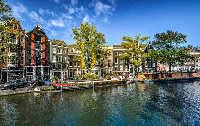Amsterdam canal netherlands, architecture buildings.