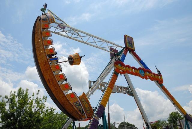 Amusement park ride park, people.