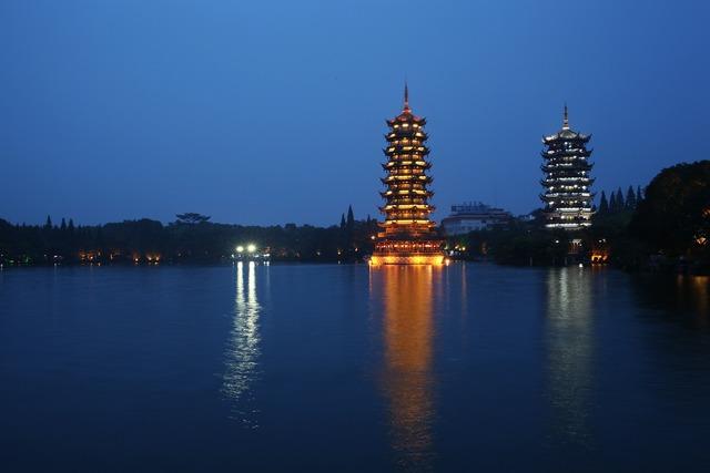 Ancient tower stupa lake.