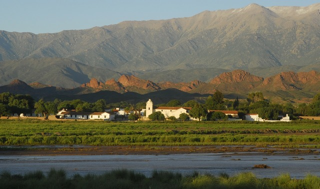 Andes old house river.