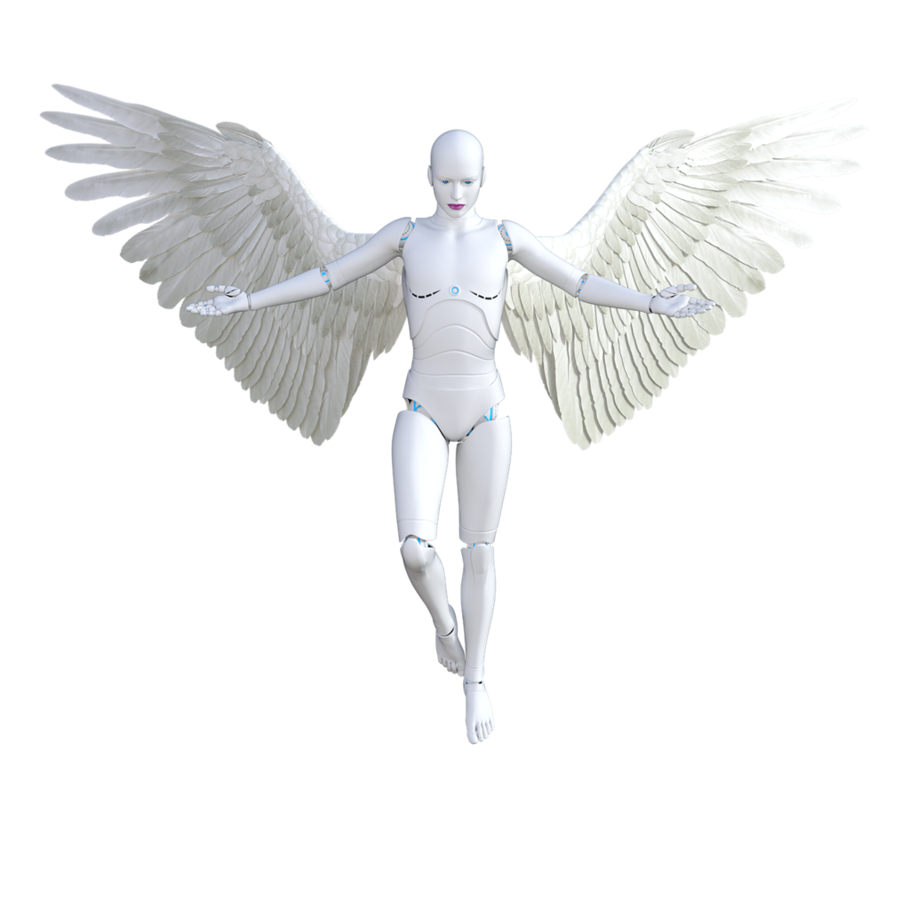 Angel robot female, beauty fashion.