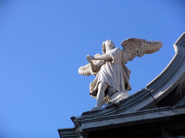 Angel sculpture building, architecture buildings.