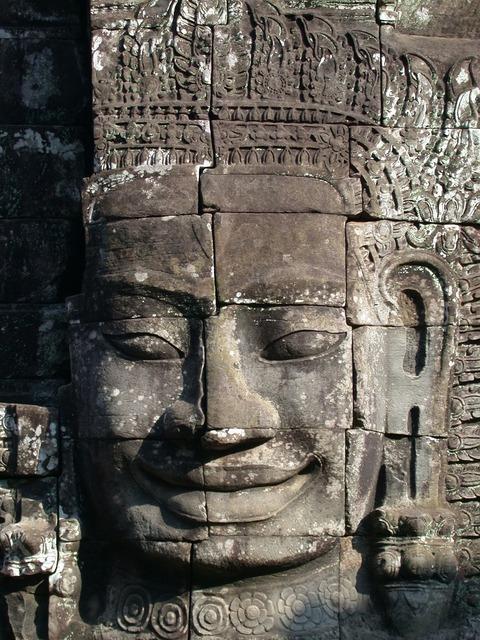 Angkor wat statue cambodia, emotions.