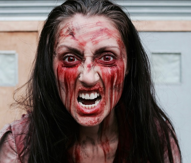Angry zombie rage, emotions.