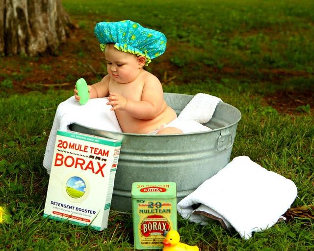 Antique bath baby, people.