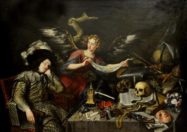 Antonio pereda oil on canvas the dream of the knight.