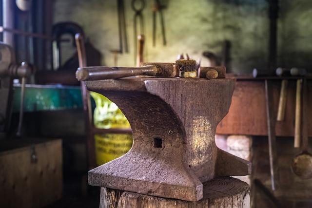 Anvil smith hammer, industry craft.