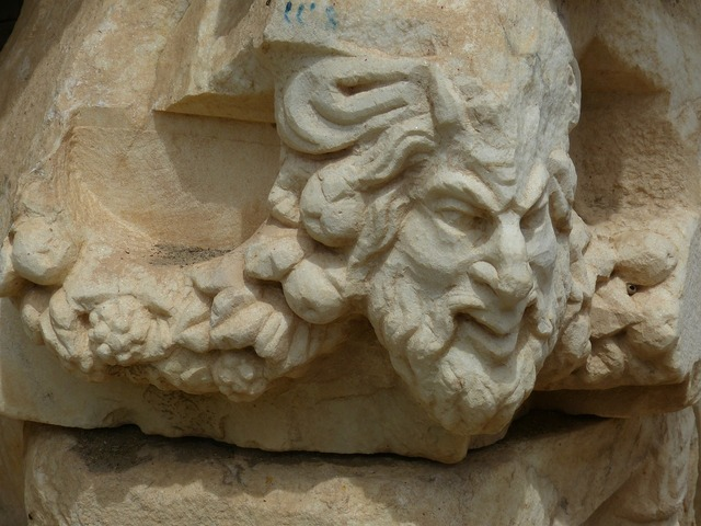 Aphrodisias head face, religion.