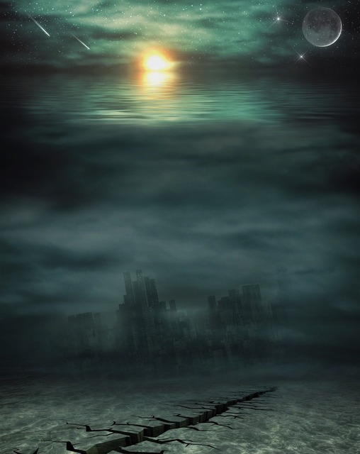 Apocalypse water sea, nature landscapes.