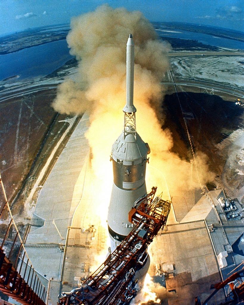 Apollo 11 start rocket launch.