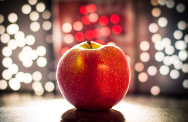 Apple bokeh fruit, food drink.