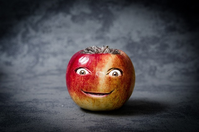 Apple funny face, food drink.