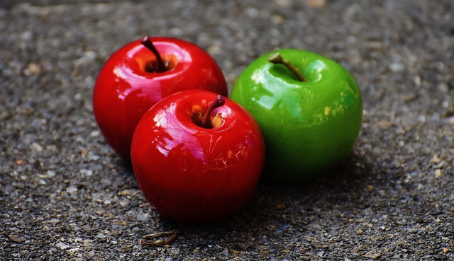 Apple red green, food drink.