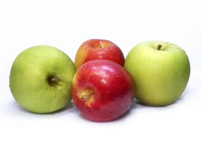 Apples fresh green, health medical.
