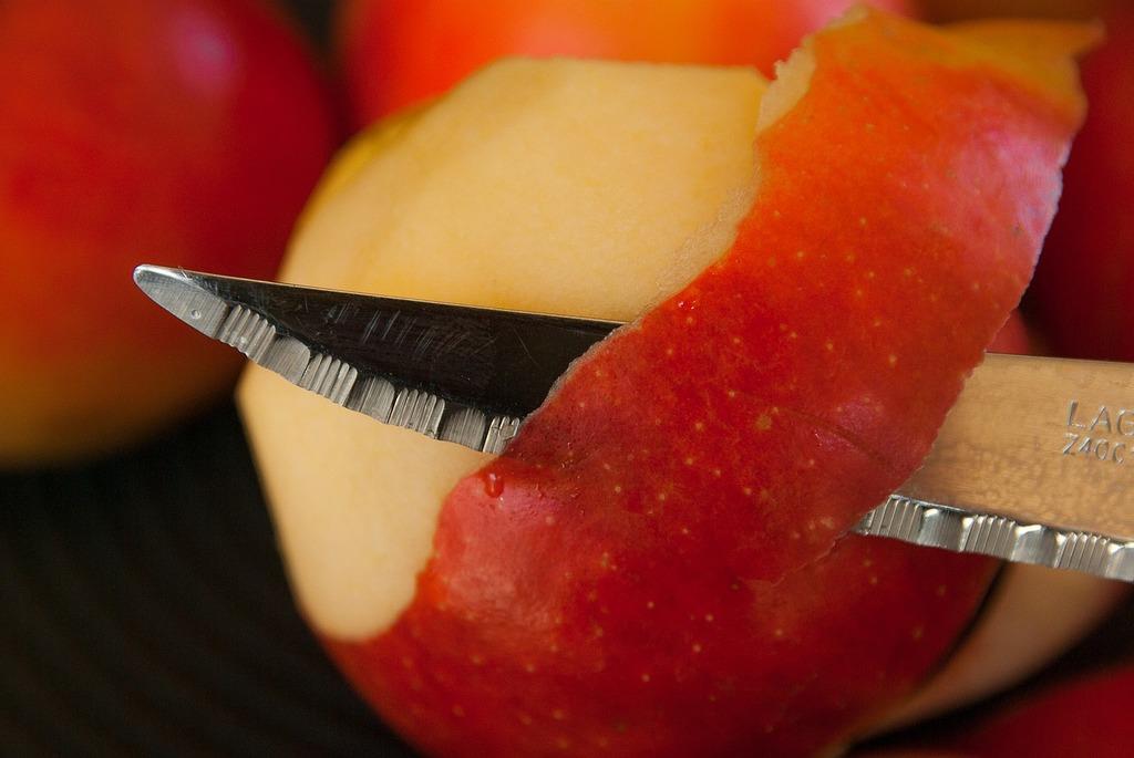 Apples knife fruit, food drink.
