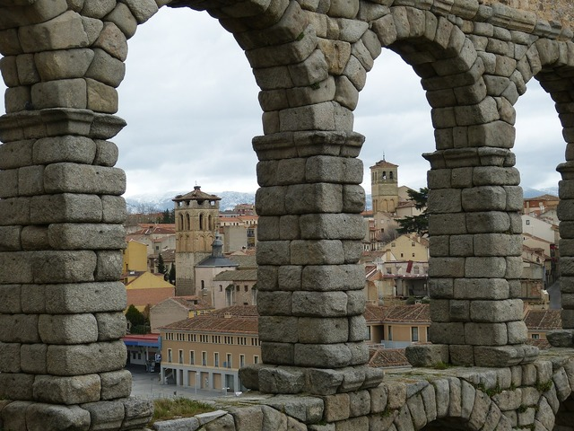 Aqueduct segovia spain, architecture buildings.