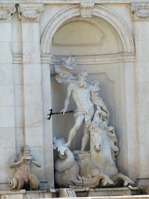Arched niche monumental sculpture, architecture buildings.