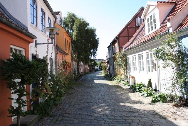 Århus idyll cobblestone street.