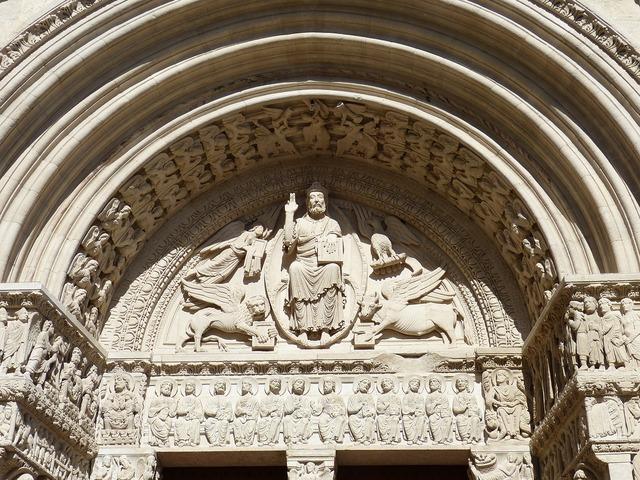 Arles cathedral facade, religion.