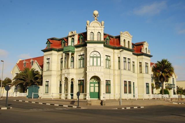 Art nouveau swakopmund villa, architecture buildings.