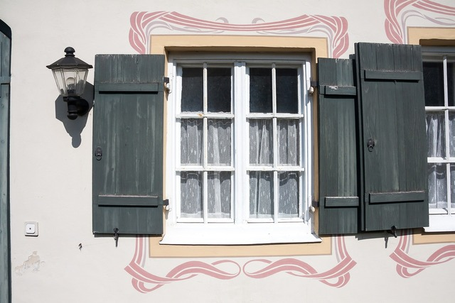 Art nouveau window shutters, architecture buildings.