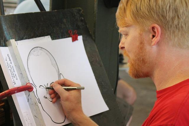 Artist caricature street artist, people.