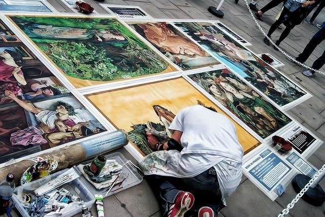 Artist painting street, transportation traffic.