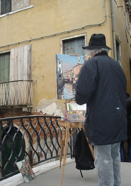 Artist painting venice.