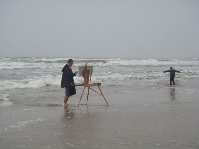 Artist posing painting, travel vacation.