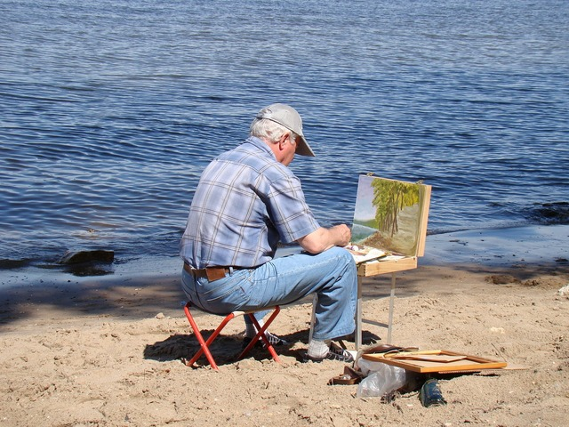 Artist river beach, travel vacation.