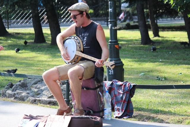 Artist road musician, transportation traffic.