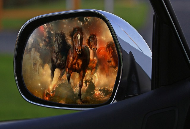 Assembly rearview mirror car mirror, transportation traffic.