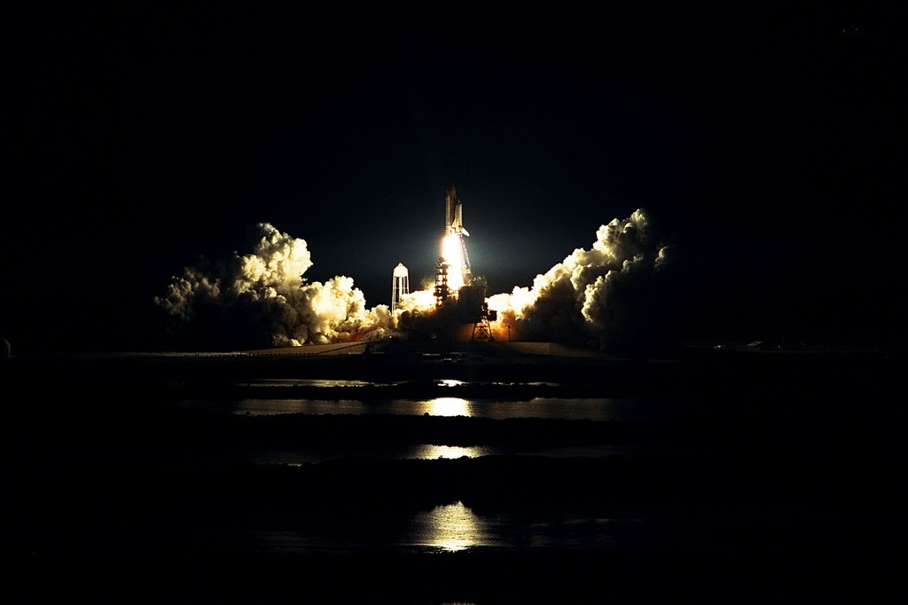 Atlantis space shuttle launch night.
