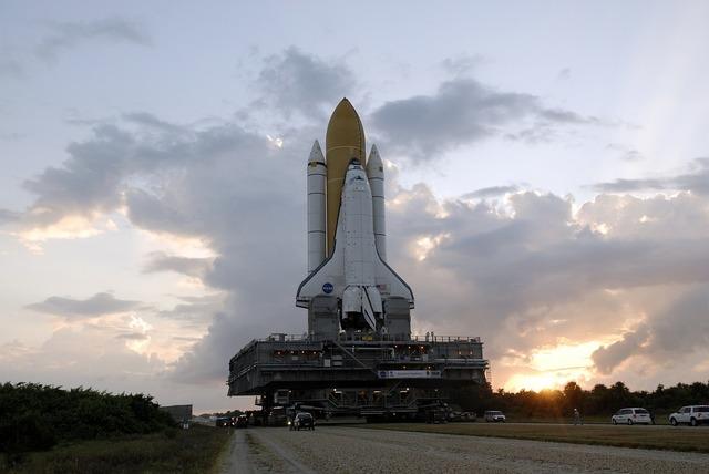 Atlantis space shuttle rollout launch pad.