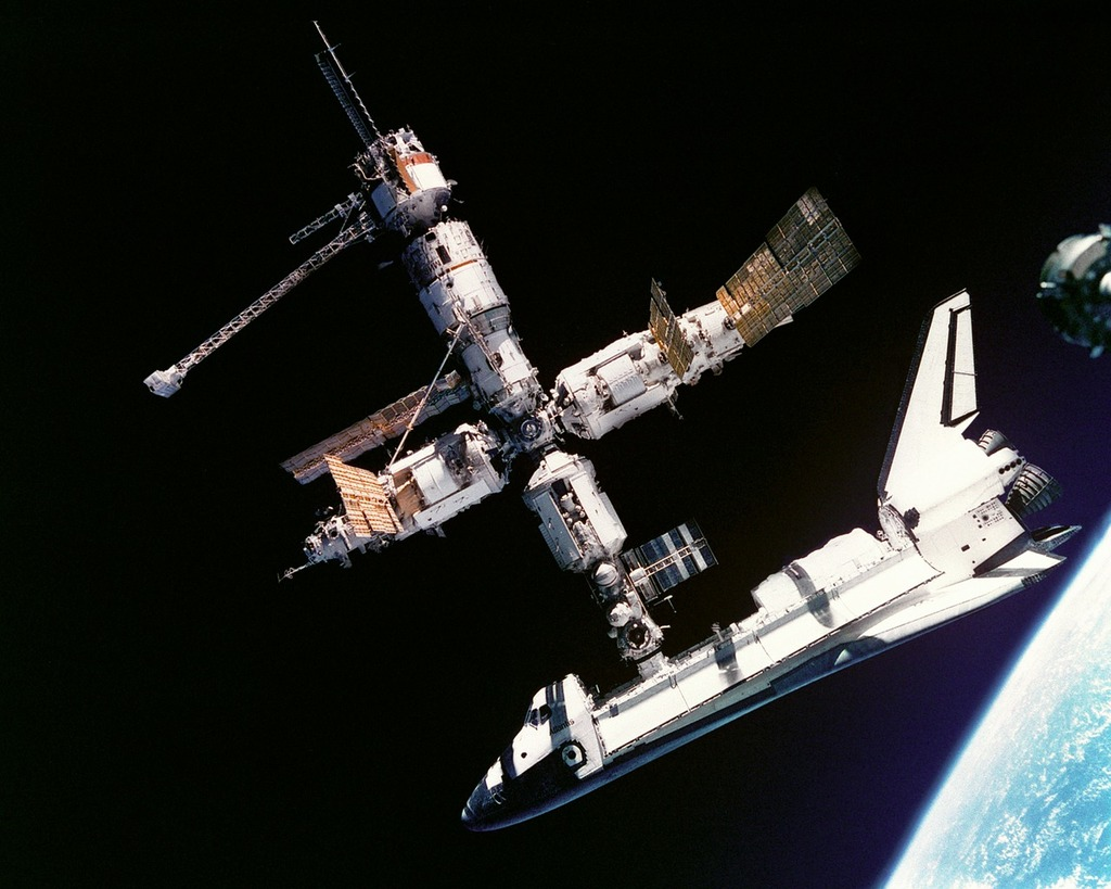 Atlantis space shuttle russia space station mir, science technology.