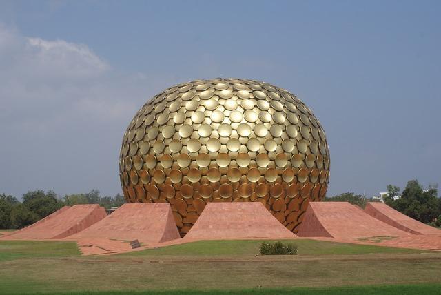 Auroville golden globe, places monuments.