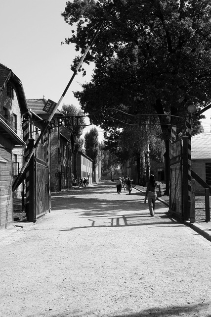 Auschwitz entry gate barrier.