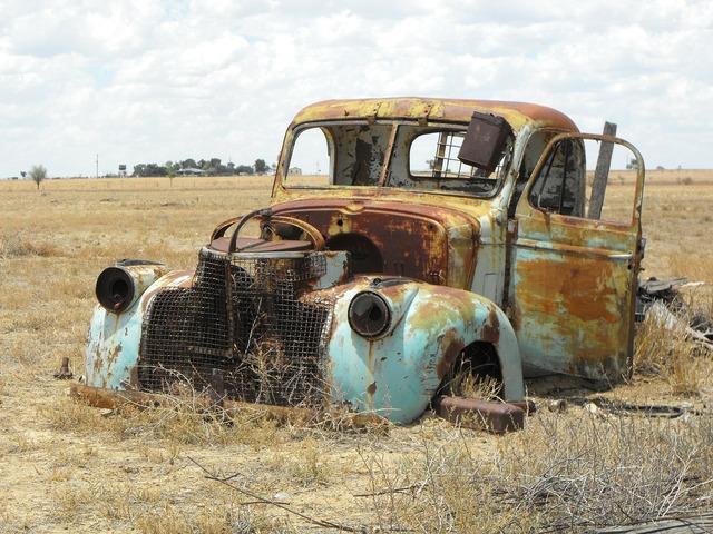 Australia old utility old car, transportation traffic.