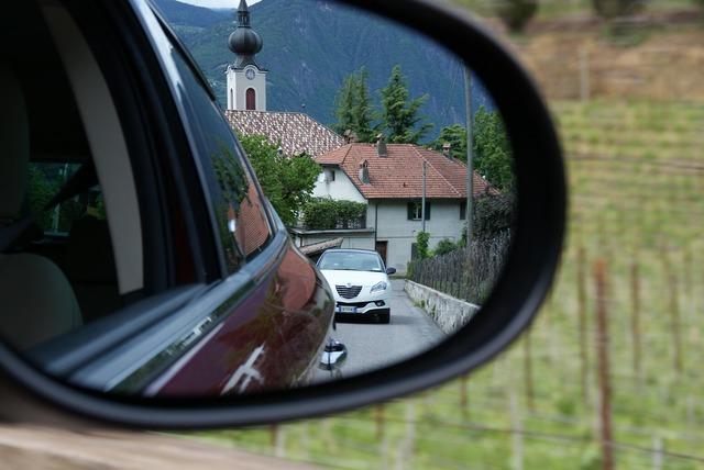 Auto column mirror, transportation traffic.