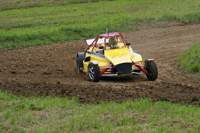 Autocross motorsport race, transportation traffic.