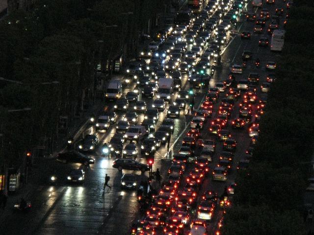 Autos road at night, transportation traffic.