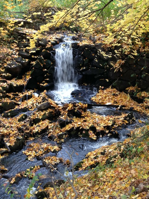 Autumn waterfall water, nature landscapes.