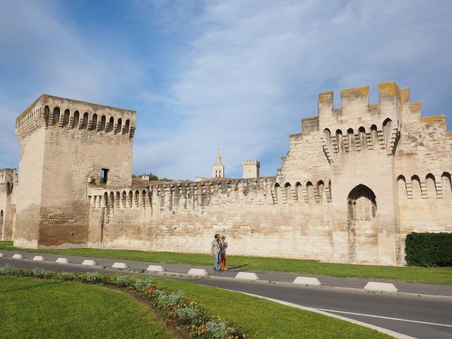 Avignon city wall defensive tower, architecture buildings.
