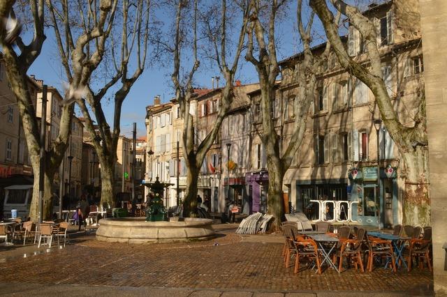 Avignon france city center, architecture buildings.