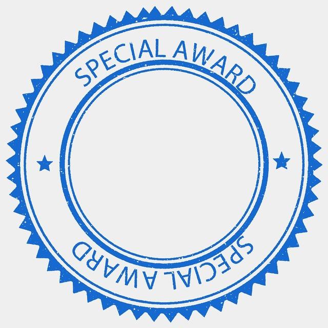 Award prize stamp.