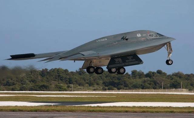 B2 spirit taking off aircraft military.
