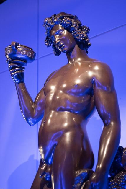 Bacchus god sculpture.